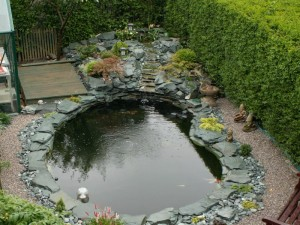 Green slate rockery pond