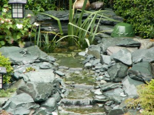 Green slate water stream