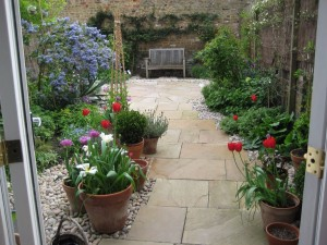 Stone paving circle garden
