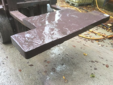 A custom made slate hearth created from welsh plum slate